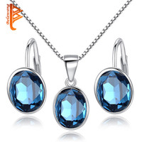 BELAWANG Atacado 925 Sterling Silver Hoop EarringsPendant Necklaces Oval Claer Conjuntos de jóias de cristal para mulheres Wedding Bridal Jewelry Sets