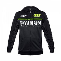 Wholesale Blue Zip Hoodie - Free shipping 2017 Moto GP Valentino Rossi Black for Yamaha Hoodie Racing Mens Zip-up Sweater