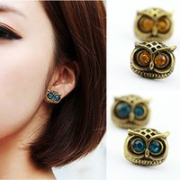 Wholesale antique jewelry earing - ES230 Bijoux Antique Gold Big Eye Owl Stud Earrings Fashion Jewelry Brincos Crystal Earing 2016 pendientes mujer HOT Selling
