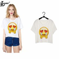 Wholesale Excite Woman - Wholesale- Lei-SAGLY 2016 Excited To Cry Emoji T-shirts Short Sleeve Women Clothes Tshirts Summer Style O-Neck Punk Harajuku Crop Tops F950