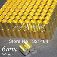 Wholesale 6mm Leather Cord Ends - Bulk 500pcs 7*24mm hole size 6mm Gold plated Tone Leather jewelry tube magnetic clasp end caps for leather cord