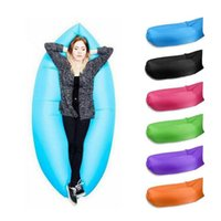 Wholesale Fast Inflatable Camping D Sofa Banana Sleeping Lazy Chair Bag Nylon Hangout Air Beach Bed Couch Outdoor Sleep Faster Fill DHL