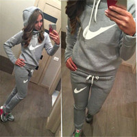 Wholesale Two Piece Jogging Suits - Sports Suit Jogging Suits For Women Letter vs Pink Print Sport Suit Hoodies Sweatshirt +Pant Jogging Sportswear Costume 2 piece Set
