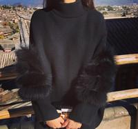 ingrosso cardigan coreano-All'ingrosso- 2016 cardigan in maglia maglione a collo alto con maniche in pelliccia e impunture moda Corea