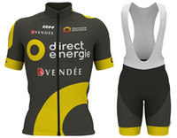 Wholesale yellow mountain bike online - 2018 Men Summmer triathlon Direct Energie Black Yellow Cycling Jersey mountain bike clothes maillot ciclismo ropa Size XXS XL L11
