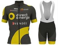 ingrosso moto diretto-2018 Uomini Summmer triathlon Direct Energie Nero-Giallo Ciclismo Jersey mountain bike abbigliamento maglia ciclismo ropa Taglia XXS-6XL L11