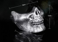 Wholesale Plastic Human Skeleton - Skull mask Jaw Horror Half Face Shied Terror Masks Plastic Human Skull Skeleton Mask for Halloween Outdoor Party