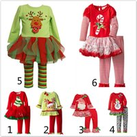 Wholesale 18 Month Winter Dress - 2017 Hot long sleeve baby girls Xmas Outfits Children Christmas 2pcs sets clothes white sanda reindeer tree dress striped ruffle pants