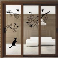 Wholesale Decorative Birds Decals - Handmade Graphic vinyl wall sticker of Tree Birds Cat for kids room decorative tree wall decals mural vinilo pegatinas de pared 9415