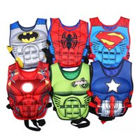 Wholesale Baby Buoy - wholesale Kids baby colorful cartoon Life Jacket preserver superman water Swimming Life vest for training swim Children life vest buoy 2-8Y