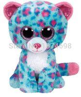 Wholesale Toy Wholesalers Sydney - Wholesale- Cute TY Beanie Boos Stuffed Animal Sydney Blue Leopard 6'' 15cm Ty Plush Animals Big Eyes Soft Toys for Children Kids Gifts