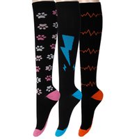 Wholesale chevron socks - Wholesale- david angie Unisex Men Women Footprint, Chevron Electrocardiogram, Lightning Socks Compression Leggings Socks Crew 1Pair,1Yc2280