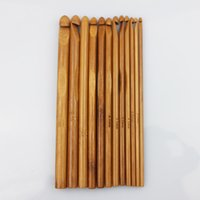 Wholesale Tool Solid Handle - New 12 Sizes Carbonized Bamboo Handle Crochet Hooks Knit Weave Yarn Craft Knitting Needle tool sets