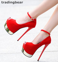 Sexy Red Bottom Ultra High Heels Sintético Suede Ankle Strap Super Platform Pumps Prom Night Club Shoes Tamanho 34 a 39