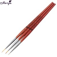 Wholesale Design Hair Pen - Wholesale- 3Pcs Set Nail Art Painting Pen Brushes Wooden Handle Fiber Hair 3D Design Drawing Lines Flowers with UV Gel Polish Manicure Tool