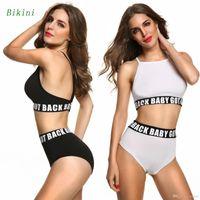 Wholesale Womens Two Piece Bathing Suit - 2017 New Fashion Sexy Womens Two Piece Tankinis Bikini Set High Waist Ladies Bathing Suit Beachwear Swimwear White Black S M L XL QP0210