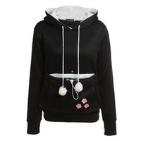 Wholesale Hoodies Cat Ears - Wholesale- Cat Lovers Hoodies With Cuddle Pouch Dog Pet Hoodies For Casual Kangaroo Pullovers With Ears Sweatshirt XL Drop Shipping