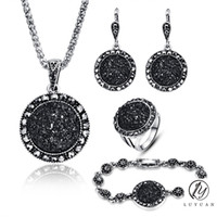 Wholesale Crystal Jewelry Sets Black - Wholesale Vintage Black Jewelry Set Fashion Women Jewelry Set Antique Silver Color Crystal Round Stone Pendant Necklace Sets 4Pc