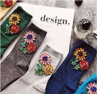 Wholesale Glitter Socks - New Arrived Korean Style Fashion Glitter Socks Women Winter sunflower gem Flower Gem Candy Color Hand-made Socks