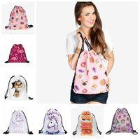 Wholesale 3d Cartoon Style Shoulder Bag - 3D Printing Drawstring Bag Cute Unicorn Backpack Travel Softback Drawstring School Bag Sports Travel Shoulder Bags OOA2974