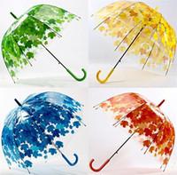 Wholesale Transparent Umbrellas Bubble - Hot Transparent Thicken PVC Mushroom Green Leaves Rain Clear Leaf Bubble Umbrella