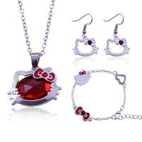 43324eb4311d Collar + Pendiente + Pulsera Conjuntos de Hello Kitty Jewlery Moda simple  Accesorios simples Conjuntos para dama de honor Conjuntos nupciales de boda