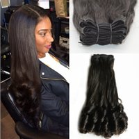Wholesale quality funmi hair resale online - High Quality Indian Human Hair Bundles Natural Color Aunty and Sexy Funmi Hair Double Drawn Funmi Hair inch FDSHINE