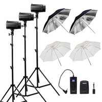 Wholesale Photography Strobe Lighting Kits - Wholesale-360Ws GODOX 3*120Ws Pro Photography Studio Strobe Flash Light with Umbrella Light Stand Kit