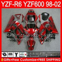 Wholesale yamaha r6 fairing kit black for sale - 8Gifts Color For YAMAHA YZF600 YZFR6 YZF R600 HM2 black flames YZF YZF R6 YZF R6 Fairing kit