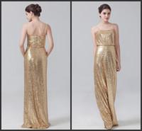 Wholesale Golden Yellow Bridesmaid Dress - Bridesmaid Dresses Long Golden Sequined Spaghettis Sleeveless Zipper Back Floor Length Elegant Dress For Wedding Formal Wear Cheap Price