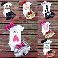 Wholesale toddler animal onesies - INS NEW Baby girls Toddler Summer clothes 3piece set outfits Gold Romper Onesies Jumpsuits + Crown pants + bow Headband - I'm A Princess
