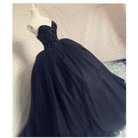imagens de vestidos drapeados venda por atacado-Sparkly US2-26W + + Preto vestido de Baile Vestido de Noiva 2019 Tulle Princesa Vestidos Custom Made New Bridal Tulle Contas de Cristal Imagem Real Drapeado