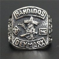 Wholesale Rings Design For Mens - For HOSCALE Truckstop MC Club Bandidos Ring 316L Stainless Steel Jewelry Cool Design Mens 1% Motor Biker Ring