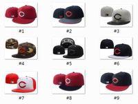 Wholesale Gray Black Snapbacks - Newest Arrival 2017 Wholesale-Men's Cincinnati Reds sport team fitted cap two tone full closed design baseball hat in black light gray
