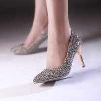 2017 Glitter Sequin 8cm nupcial sapatos de salto alto Sapatos de dama de honra do casamento Pointed Toe Slip On Party Sapatos bombas