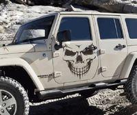 Wholesale Big Car Window Decals - 1 PC Big Size 40x36CM Punisher Skull Head car sticker Engine hood door window truck Car styling Reflective decals and stickers