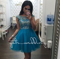 Teal Blue Tulle Short Homecoming Vestidos Cap Sleeves Prata Cristal Beaded Plissado Pink Black Party Dresses Backless Prom Dresses