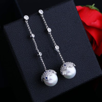 Wholesale Wild Pearl - Europe and the United States fashion star shell shell pearl earrings S925 silver needle micro-zigzags wild long ear ear jewelry