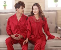 Wholesale Sexy Pyjamas For Women - Faux silk sleep lounge Rayon pajama sets for men women sleepwear red marriage wedding pijamas lady's pyjamas female homewear