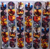 Wholesale Plastic Animal Figures Set - New 2sets (48pcs set) Cartoon Superhero Spiderman Badge Button Pins Party Gifts Diameter 4.5 cm Free Shipping