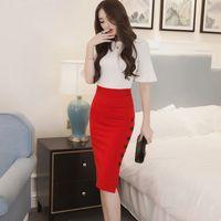 Wholesale Midi Tight Skirts - High Waist Pencil Skirt 5XL Plus Size Tight Bodycon Fashion Women Midi Skirt Red Black Sexy Open Slit Button Slim Pencil Skirt
