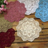Wholesale Crochet Cup Placemat - Wholesale-2Pcs Europen Flower Placemat Crochet Table Mat Handmade DIY Cotton Hollow Round Doily Cup Pads Doilies Crochet Coasters 25-35cm