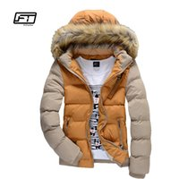 Wholesale Teenage Male Fashion - Wholesale- winter men cotton-padded jacket male wadded hooded teenage outwear patchwork fur collar jacket thickening plus size Parkas