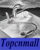 Wholesale Kitchen Faucet Ceramic Valve - Traditional Pull-out Pull-down Deck Mounted Pullout Spray with Ceramic Valve Single Handle One Hole for Chrome , double outle Kitchen faucet