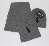 Wholesale Girls Hat Scarf Grey - 2017 New Fashion Men's Women's PO Scarf Hat Two-Piece Fashion Winter Heat Insulation Scarf Suit Brand Foreign Trade Knitting Scarf Cap Suit