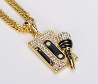 Wholesale Nightclub Accessories - Fashion men punk gold silver Rhinestones Diamond Pendants Necklaces HIPHOP DJ nightclub charm chain necklaces Jewelry gifts Accessories 2017