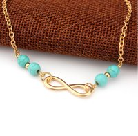 Wholesale infinity jewellery - New Blue Bead Infinity Anklet Ankle Bracelet Foot Jewellery Bead Chain Anklet Foot Bracelet Beach Sandal Barefoot Jewelry