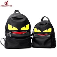 Wholesale Bag Pink Korean - Wholesale- Famous Brand Demon Eyes Character Backpack New Korean Fashion Nylon Little Monster Schoolbag For Teenager Istitute Wind Backpack