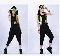 Wholesale Dance Rompers - New Women Jumpsuits Fashion fluorescent Hip Hop clothing Dance Costume Performance Wear Jazz Rompers Casual sports Set