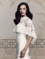 Wholesale High Collar Lace Wedding Shawl - High Collar Wedding Jacket High Quality Lace Hi-Lo Wedding Coat Wedding Bolero